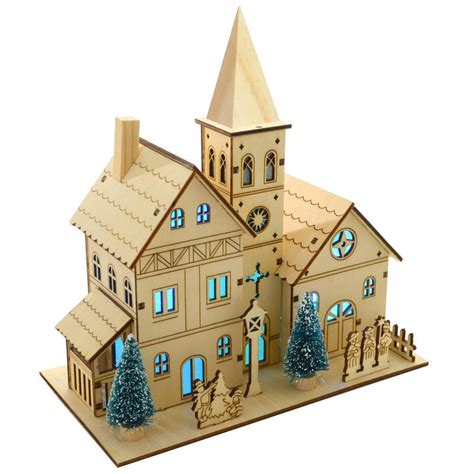 how to make wooden a christmas church light up colour changing led light wooden church decoration for indoor use