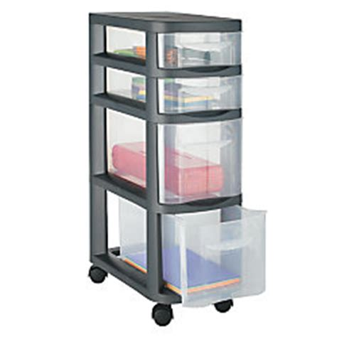 Office Depot Storage Drawers by Office Depot Brand Slim Plastic Storage Cart 4 Drawers 27
