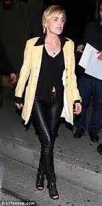 sharon stone wears leather trousers as she enjoys night