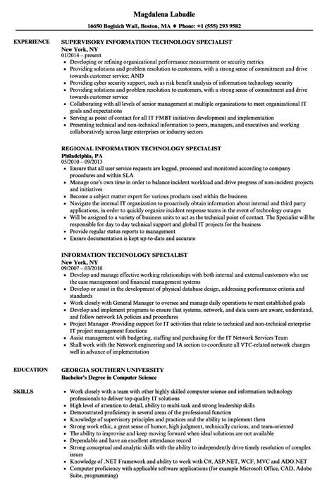 sample resumes technical resume it resume or information