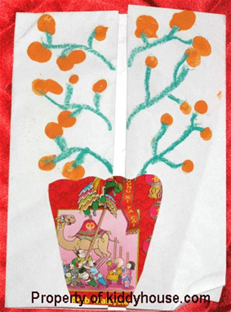 new year lucky tree craft new year craft finger print orange tree