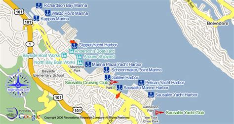 map of sausalito area sausalito marinas boat yards yacht clubs and boat rs