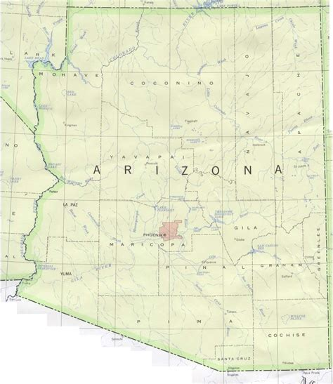 arizona county map with roads arizona base map