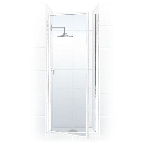 Hinged Glass Shower Doors Coastal Shower Doors Legend Series 26 In X 68 In Framed Hinged Shower Door In Platinum With