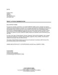 indemnification clause template letter of indemnification to former director template