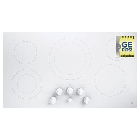 white cooktops ge 36 in radiant electric cooktop in white with 5