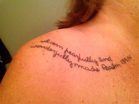fearfully and wonderfully made tattoo i am fearfully wonderfully made psalm 139 14 shoulder