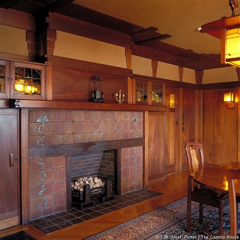Dining Room Fireplace Tiles Interior Photographs Of The Gamble House Gamble House