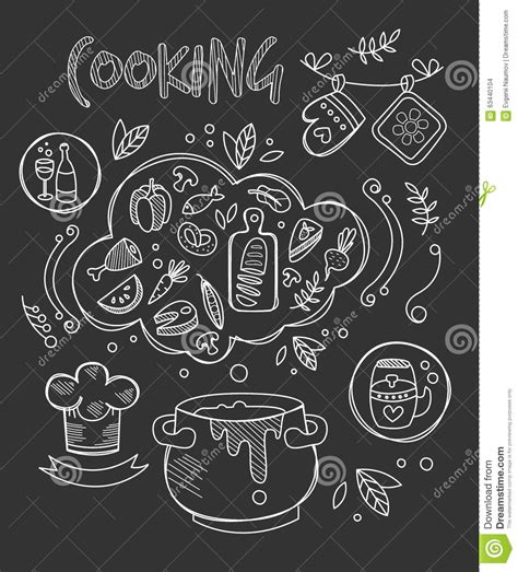doodle draw free cooking vector illustration chalkboard drawing stock