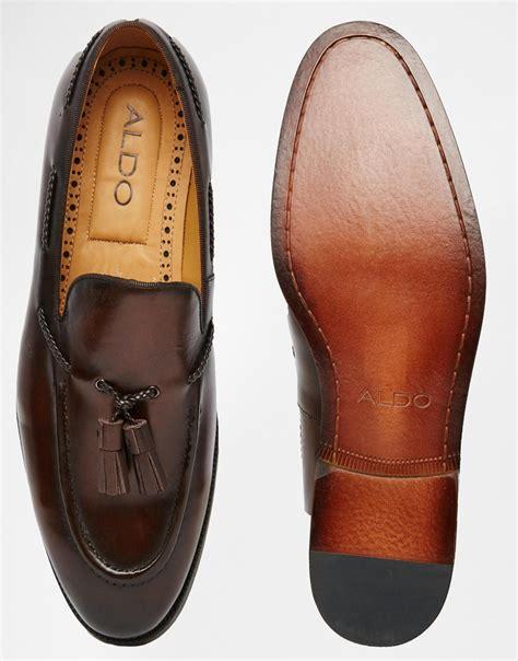 mens aldo loafers aldo pallini tassle loafer in brown for lyst