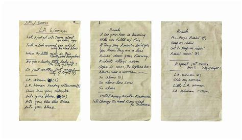 Lyrics L A The Doors by Ronnie S Collection Of Rock Roll Memorabilia At