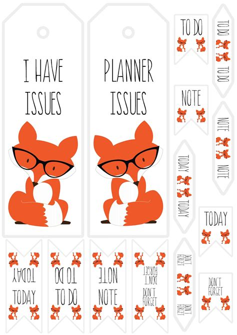 printable bookmark planner pics and cheesecake paper issues planner fox