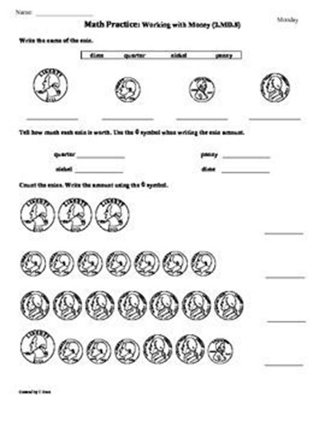 Common Math Worksheets For 2nd Grade by 54 Best Images About Math Grade 2 Md8 Counting Money