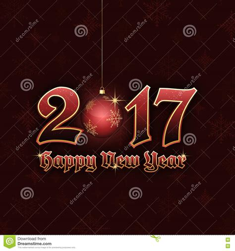 happy new year title vector happy new year 2017 title with hanging bauble stock