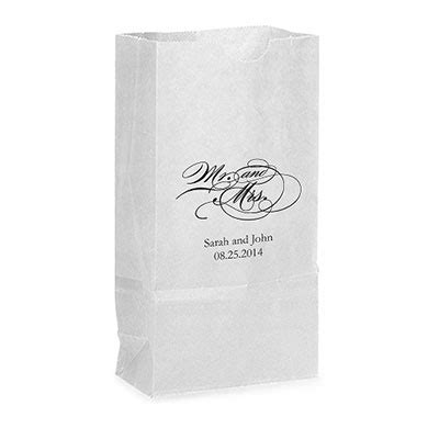 Standing Favor Bags mr and mrs script goodie bags the knot shop