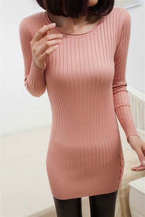 pink  neck button decor sweater dress   long