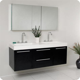 54? Fresca Opulento (FVN8013BW) Black Modern Double Sink