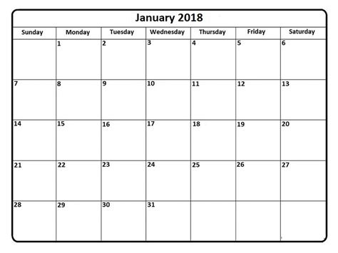 January Calendar 2018 January 2018 Calendar 2017 Calendar Printable For Free