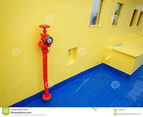 red fire hose connection on ferry boat deck stock photo - Fire Boat Connection