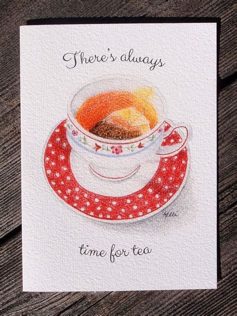 for colored script tea cup printed greeting card colored pencil lettering
