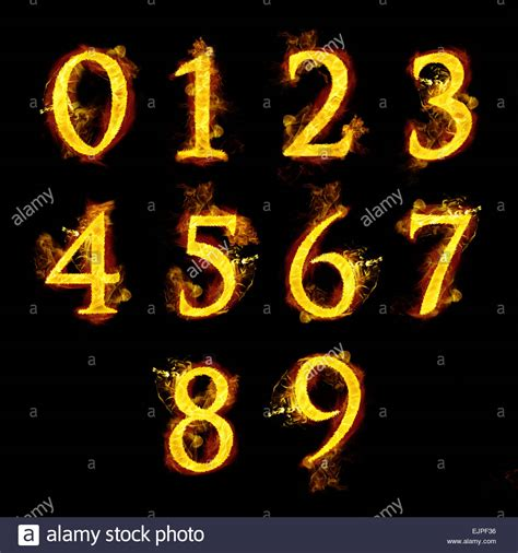 numbers  fire flames stock photo