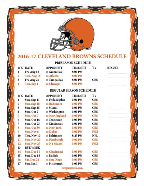 printable 2016 2017 cleveland browns schedule