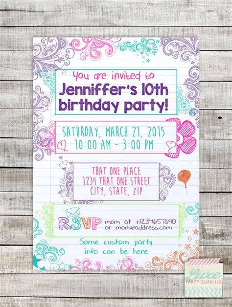 birthday invitation wording for tweens 231 best images about digital printable invitations on