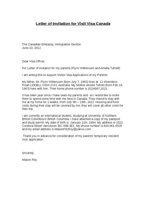 Support Letter From Parents For Partnership Visa immigration invitation letter reglementdifferend