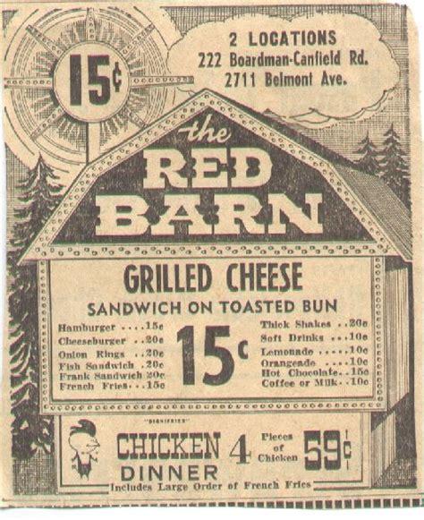 The Barn Restaurant Menu Fast Food Menu And Prices From November 1963 Hamburger