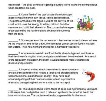 Ecological Relationships Worksheet by Symbiotic Relationships Worksheet Calleveryonedaveday
