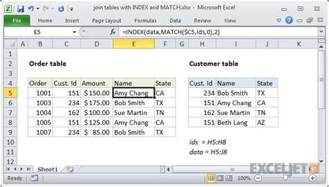 excel formula join tables with index and match exceljet