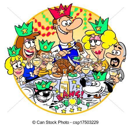 clipart cena cena navidad familia navidad reunido caricatura