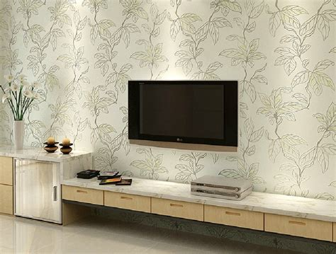 Restaurant Dining Room Design by Leaves Wallpaper For Tv Wall Interior Design
