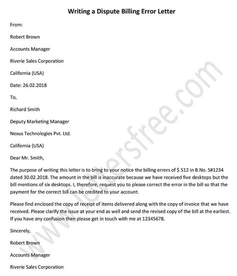 business letter billing error free sle letters business letter format exles and