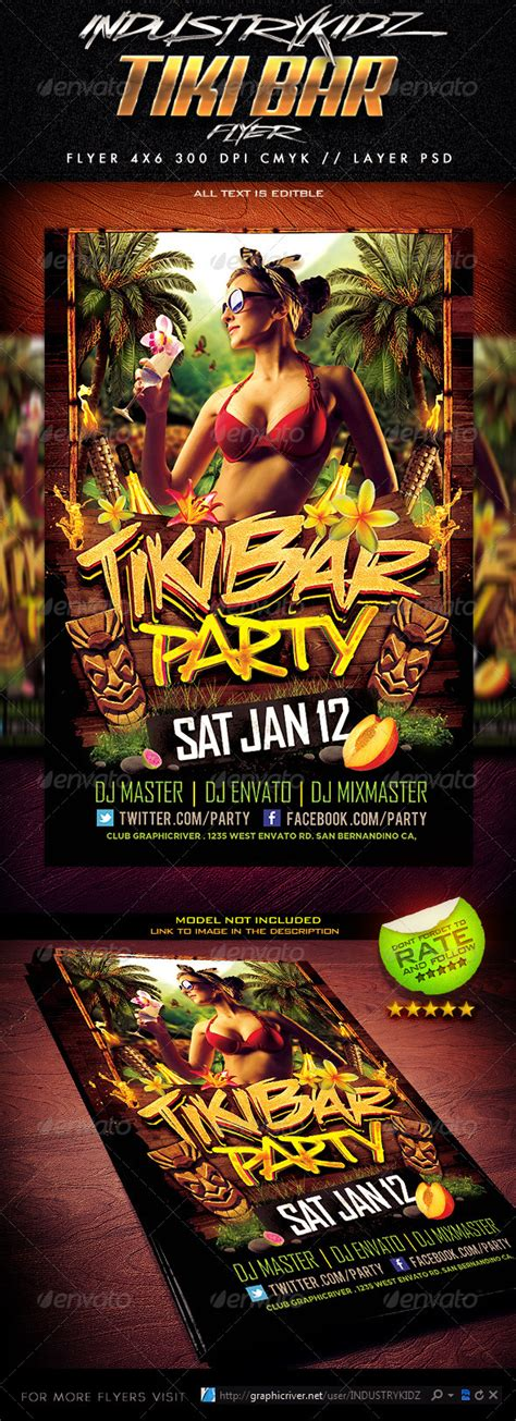 Tiki Bar Party Flyer By Industrykidz Graphicriver Tiki Bar Menu Template