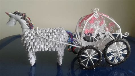 Origami Carriage - 3d origami unicorn wedding carriage paperworldcreation