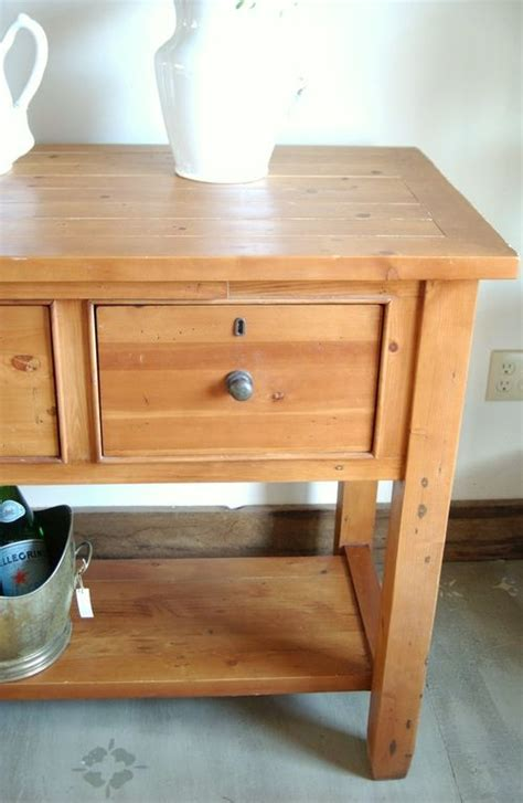 vintage pottery barn pine kitchen island farm table