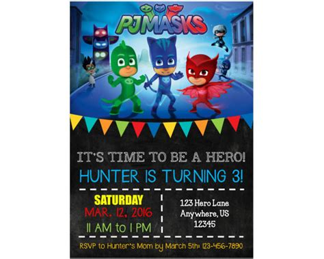 pj invitation pj mask birthday invitations lilbibby