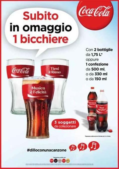 canzone con i bicchieri bicchiere coca cola omaggio omaggiomania