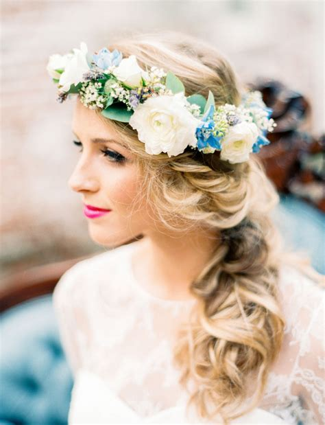 Forest Colorful Flower Crown blue lavender wedding inspiration green wedding