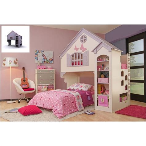 dollhouse bunk bed proman amberly dollhouse bunk bed in purple pink zf16728