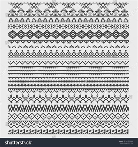 african pattern brush vector brushes collection boho style aztec stock vector