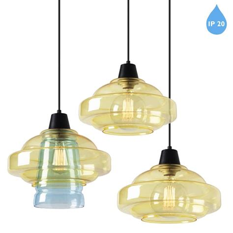 Yellow Glass Ceiling Light Leds C4 Color Ip20 3 Light Ceiling Pendant Yellow Blue Glass 00 5443 60 E7 From Easy Lighting