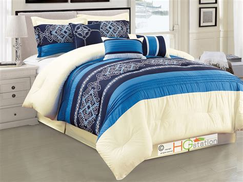 7 p royal floral damask scroll pleated stripe comforter