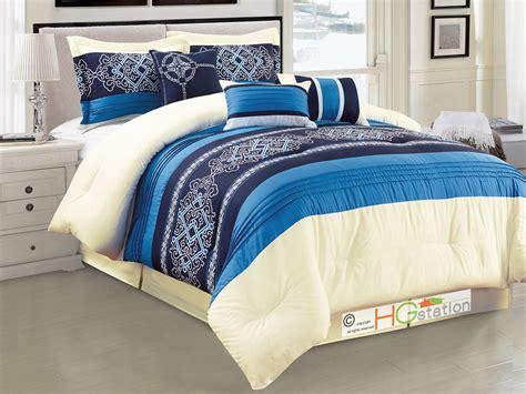 blue damask comforter set 7p royal floral damask scroll pleated stripe comforter set