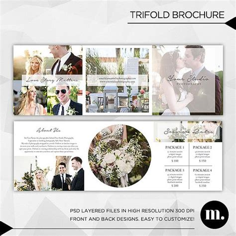 wedding photography brochure template 5x5 trifold brochure template with about me and session