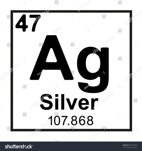 Ag On Periodic Table by Periodic Table Element Silver Stock Vector 467700062