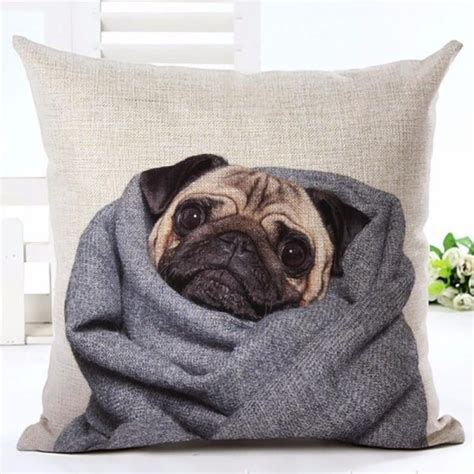 pug pillow pet pug in blanket pillow cover top pet gifts