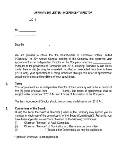 appointment letter format for board of directors director appointment letters 7 free sles exles