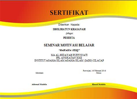 contoh sertifikat seminar format ms word blogger pemula